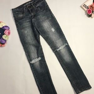 Guess blue gray skinny distressed ripped jeans